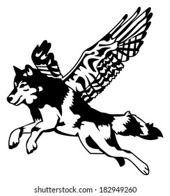 Black and White Flying Wolf with Wings