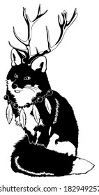 Black and White Fox with Antlers wearing Feather Necklace