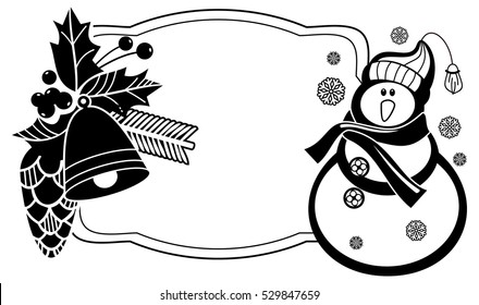 Black and white frame with funny snowman, holly berries and pine cones silhouettes. Copy space. Raster clip art.