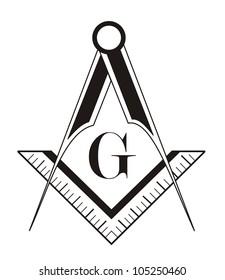 ilustración de símbolo freemason en blanco y negro