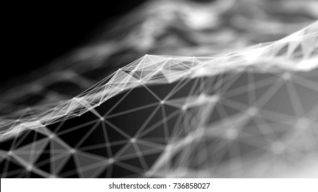 Black and white futuristic technology abstract background. Plexus lines, nodes and light polygons. Abstract technology and engineering background. Depth of field settings. 3D rendering.