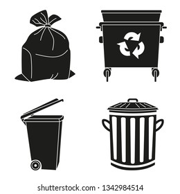 Black and white garbage silhouette collection. Trash bins and bag. Waste disposal themed illustration for icon, logo, stamp, label, emblem, certificate, leaflet, brochure or banner decoration