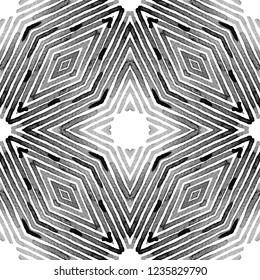 Black and white Geometric Watercolor. Cool Seamless Pattern. Hand Drawn Stripes. Brush Texture. Uncommon Chevron Ornament. Fabric Cloth Swimwear Design Wallpaper Wrapping.