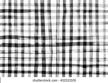 black and white. gingham fabric background.  watercolor. Abstract noisy edges painted gingham check background.