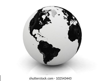 black and white globe 3D rendered