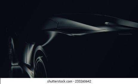 Black and white glossy metal-plastic silhouette of the car