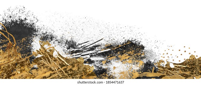 Black, white and Gold Abstract color smear acrylic and watercolor blot painting. Monotype template. Canvas texture background. Isolated on white. Horizontal long banner.