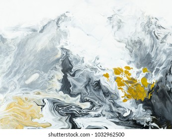 Black and white with gold marble abstract hand painted background, close-up of acrylic painting on canvas. Contemporary art.