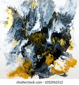 Black and white with gold marble abstract hand painted background, acrylic painting on canvas. Contemporary art.