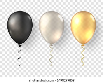 Black, white gold realistic balloons. Glossy 3D golden baloon set on background. Festive 3d helium ballons isolated.