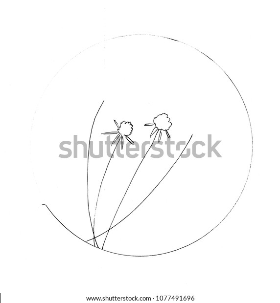 Black White Graphic Drawing Plant Nature Stock Illustration
