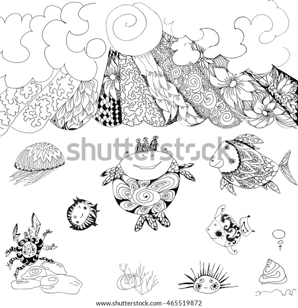 Black and white graphic illustration ink magical sea with fish, jellyfish, crab