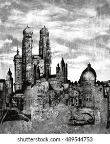 Black and white grunge cityscape pattern