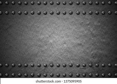 black and white grunge metal background. rivet on metal plate. material design 3d illustration.