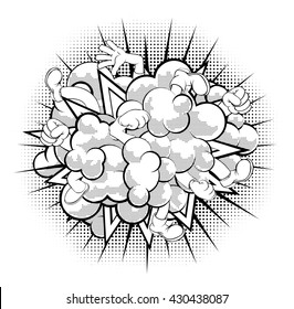 A black and white half-tone shaded comic book or cartoon dust cloud fight