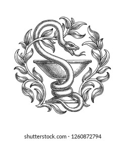Black and white hand drawn illustration, medical snake and cup, pharmacy symbol.