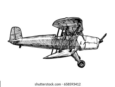 black and white hand drawn illustration of vintage biplane. Airplane isolated on white background. Side view.