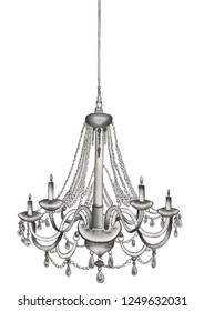 black and white hand drawn pencil illustration of a chandelier with candles on the flat white background