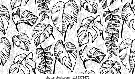 Black and white hand drawn tropical leaves seamless pattern tile