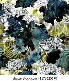 Black and white hand painted flowers on liquified vertical stripped background