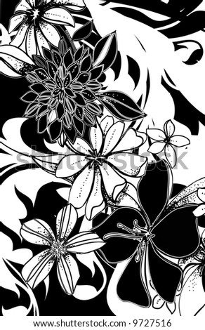 black and white hand drawn spring flowers with abstract black and white ground