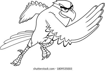 Black And White Hawk Bird Cartoon Character Running. Raster Illustration Isolated On White Background