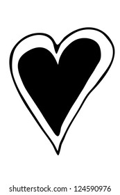 black and white heart shape
