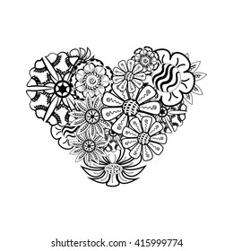 Black And White Heart Shaped Pattern For Coloring Book Or Positive Banner Floral Retro