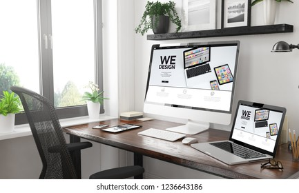 black and white home office with responsive devices builder website3d rendering