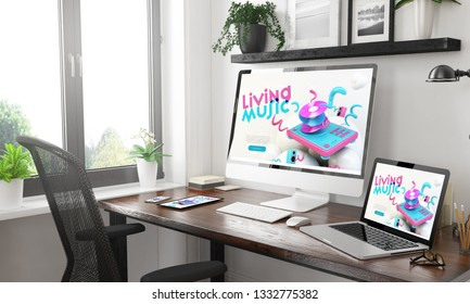 black and white home office with responsive music  website3d rendering