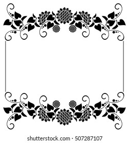 Black and white horizontal frame with decorative sunflowers silhouettes. Raster clip art.