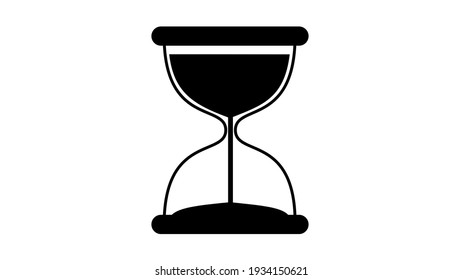 Black and White Hourglass Timer Flat Icon on White Background