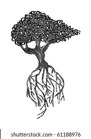 Black and white iIllustration of a tree with its roots exposed.