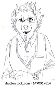 Black and white illustration of an anthropomorphic canine with funny hair wearing glasses