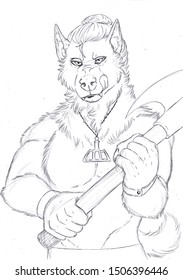 Black and white illustration of an anthropomorphic canine holding an axe