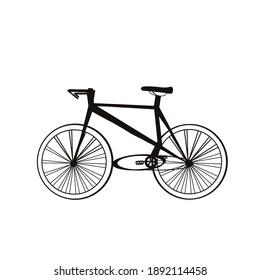 Black white illustration of bicycle.