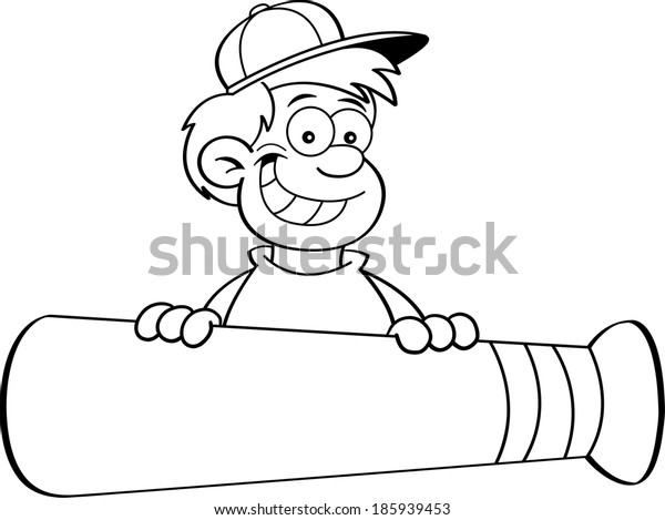 Black and white illustration of a boy with a baseball bat banner.