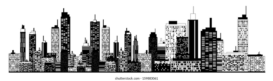 A black and white illustration of city skyline.