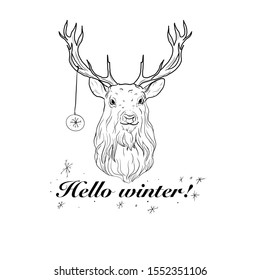 """Black and white illustration of a deer with a Christmas toy and the inscription """"Hello winter!"""". Postcard."""