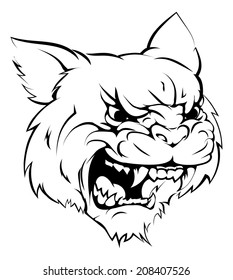 A black and white illustration of a fierce wildcat animal character or sports mascot