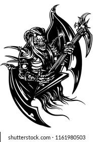 Black white illustration a horned demon with brutal electro guitar