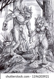 Black and white illustration of a male and a female werewolves