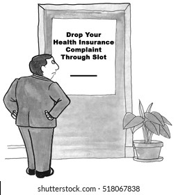 Black and white illustration of a man frustrated with the lack of customer service from the medical insurance company.