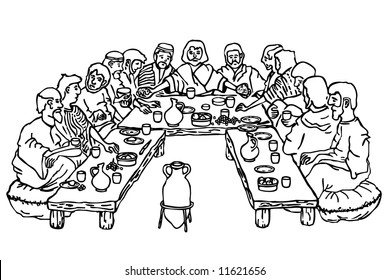 Coloring pages of last supper or apostles ~ Jesus and Disciples Images, Stock Photos & Vectors ...