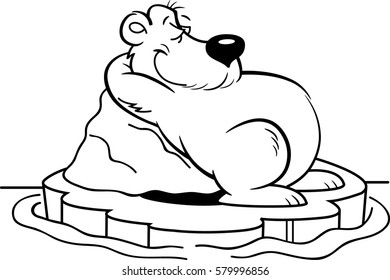 Black and white illustration of a polar bear laying on an iceberg.