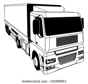 A black and white illustration of a stylised semi truck