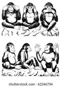 Black and white illustration of three monkeys acting out famous expression. See no evil, hear no evil, speak no evil. Below that are three monkeys; seeing love, hearing love and speaking love.