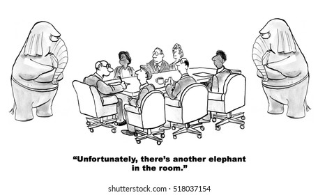 Black and white illustration of yet another elephant in the room.