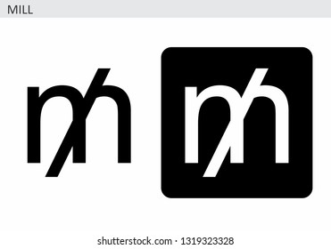 Black and white illustrations of the Mill currency symbol