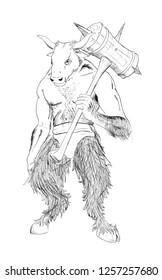 Black and white ink artistic rough hand drawing of fantasy or mythological minotaur with maul.